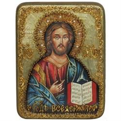 Господь Вседержитель икона в авторском стиле на мореном дубе - фото 6343