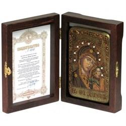 Казанская икона Божьей Матери в авторском стиле на мореном дубе - фото 6583