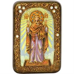 Нерушимая стена образ Божьей Матери в авторском стиле на мореном дубе - фото 6619