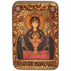 Неупиваемая чаша образ Божьей Матери в авторском стиле на мореном дубе - фото 6644