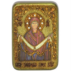 Покров Пресвятой Богородицы в авторском стиле на мореном дубе - фото 6675