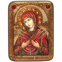Умягчение злых сердец образ Божией Матери, икона в авторском стиле на мореном дубе - фото 6711