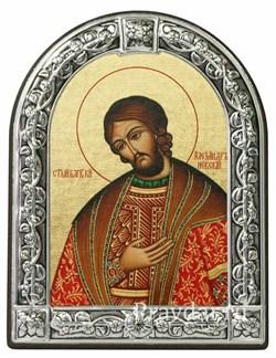 Александр Невский Святой князь, икона с серебряной рамкой - фото 6968