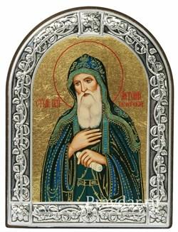 Антоний Печерский преподобный, икона с серебряной рамкой - фото 6972