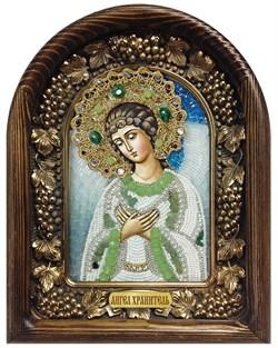 Ангел Хранитель, дивеевская икона из бисера ручной работы - фото 7221