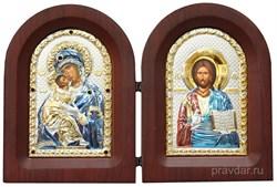 Складень Владимирская БМ и Спас Премудрый, икона с серебряным окладом - фото 7248