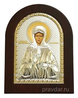 Матрона Московская, икона с серебряным окладом без эмали - фото 7293