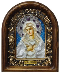 Умиление образ Божией Матери, дивеевская икона из бисера ручной работы - фото 7348