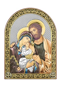 Святое Семейство, серебряная икона с позолотой и цветной эмалью - фото 7389