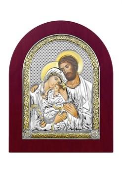 Святое Семейство, серебряная икона деревянный оклад  - фото 7397