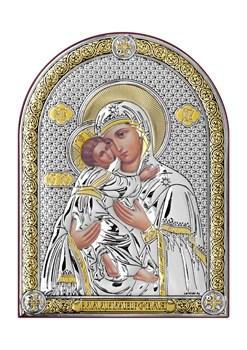 Владимирская Божия Матерь, серебряная икона с позолотой - фото 7447