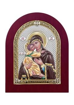 Владимирская Божия Матерь, серебряная икона деревянный оклад цветная эмаль - фото 7456