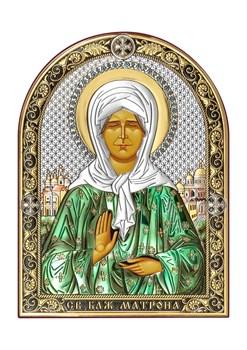 Матрона Московская, серебряная икона с позолотой и цветной эмалью - фото 7534