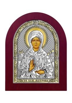 Матрона Московская, серебряная икона деревянный оклад - фото 7537