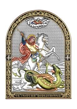 Георгий Победоносец, серебряная икона с позолотой и цветной эмалью - фото 7550