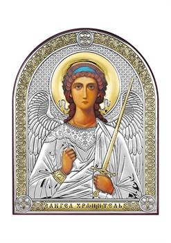 Ангел Хранитель, серебряная икона с позолотой - фото 7640