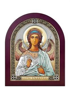 Ангел Хранитель, серебряная икона деревянный оклад цветная эмаль - фото 7649