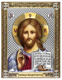 Господь Вседержитель, серебряная икона с позолотой и цветной эмалью на дереве (Beltrami) - фото 7678