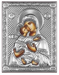 Владимирская Божия Матерь, серебряная икона на дереве (Beltrami) - фото 7690