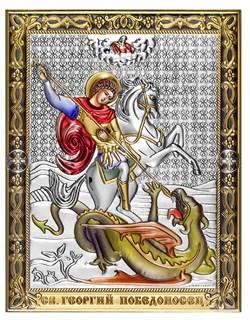 Георгий Победоносец, серебряная икона с позолотой и цветной эмалью на дереве (Beltrami) - фото 7714
