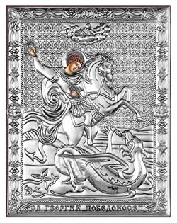 Георгий Победоносец, серебряная икона на дереве (Beltrami) - фото 7716