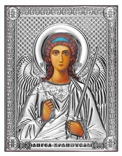 Ангел Хранитель, серебряная икона на дереве (Beltrami) - фото 7724