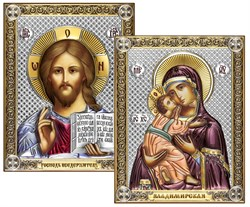 Венчальная пара, серебряные иконы с позолотой и цветной эмалью, лик шелкография (Владимирская) - фото 7771