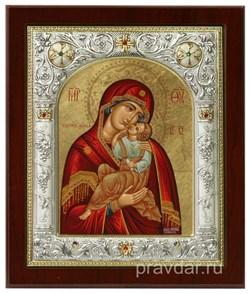 Взыграние Младенца Божья Матерь, икона 14х17 см, шелкография, серебряный оклад, золочение, кристаллы Swarovski - фото 7851