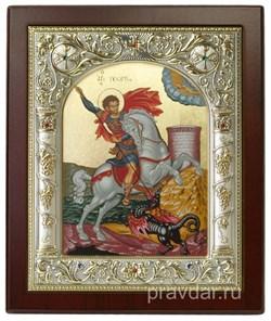 Георгий Победоносец, икона 14х17 см, шелкография, серебряный оклад, золочение+, кристаллы Swarovski - фото 7885