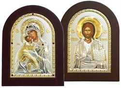 Венчальная пара, греческие иконы, серебряный оклад с золочением (Владимирская) - фото 7923