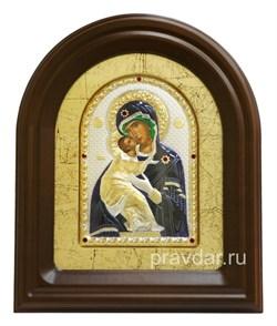 Владимирская Божья Матерь, серебряная икона в деревянном киоте, золочение, цветная эмаль - фото 7942