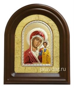 Казанская Божья Матерь, серебряная икона в деревянном киоте, золочение, цветная эмаль - фото 7946