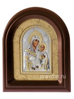 Вифлеемская Божья Матерь, серебряная икона в деревянном киоте, золочение - фото 7952