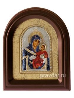 Вифлеемская Божья Матерь, серебряная икона в деревянном киоте, золочение, цветная эмаль - фото 7954