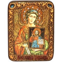 Ангел Хранитель со Спасителем икона на мореном дубе 20 см и 29 см - фото 8213