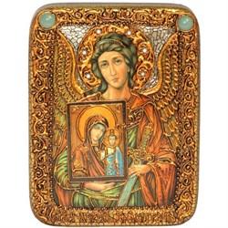 Ангел Хранитель c Богородицей икона на мореном дубе 20 см и 29 см. - фото 8217