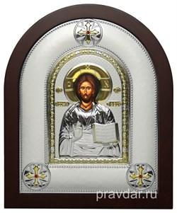 Спас Премудрый, греческая икона шелкография, серебряный оклад - фото 8233