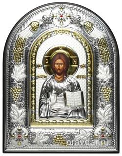 Спас Премудрый, греческая икона шелкография, серебряный оклад с виноградной лозой, рамка в коже. - фото 8241