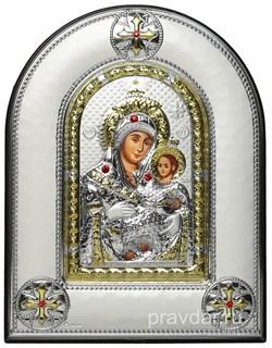 Вифлеемская Божья Матерь, греческая икона шелкография, серебряный оклад, рамка в коже - фото 8262