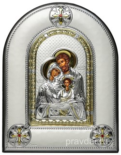 Святое Семейство, греческая икона шелкография, серебряный оклад, рамка в коже - фото 8298