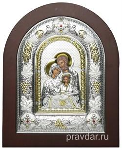 Святое Семейство, греческая икона шелкография, серебряный оклад с виноградной лозой - фото 8301