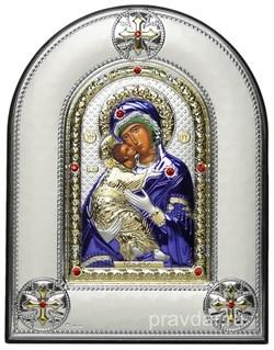 Владимирская Божья Матерь, греческая икона шелкография, серебряный оклад, цветная эмаль, рамка в коже - фото 8355
