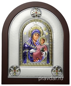 Вифлеемская Божья Матерь, греческая икона шелкография, серебряный оклад, цветная эмаль - фото 8370