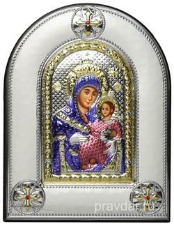 Вифлеемская Божья Матерь, греческая икона шелкография, серебряный оклад, цветная эмаль, рамка в коже - фото 8373