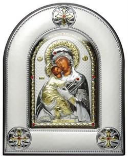 Владимирская Божья Матерь, серебряная икона в киоте со стеклом - фото 8413
