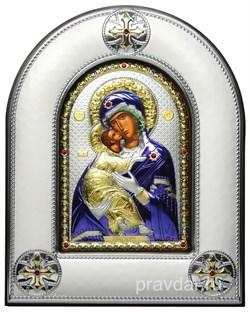 Владимирская Божья Матерь, серебряная икона в киоте со стеклом, цветная эмаль - фото 8415