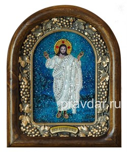 Иисус идущий по воде, дивеевская икона из бисера - фото 8457