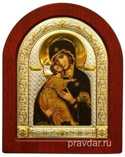 Владимирская Божья Матерь, икона шелкография, деревянный оклад, серебряная рамка - фото 8545