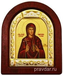 Анастасия Святая Великомученица, икона шелкография, деревянный оклад, серебряная рамка - фото 8605