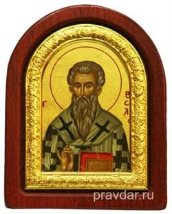 Василий Великий, икона шелкография, деревянный оклад, серебряная рамка - фото 8617